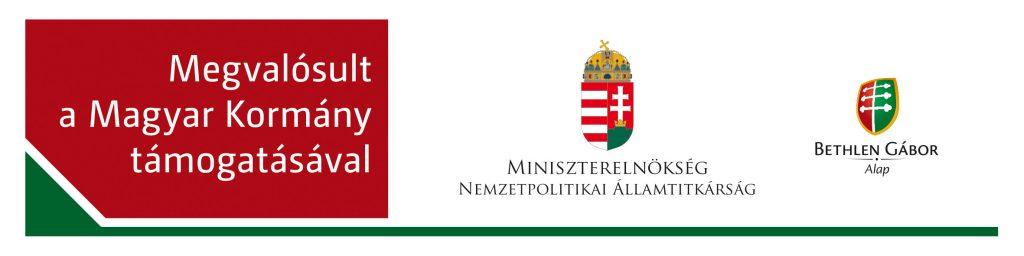 Megvalósult a Magyar Kormány támogatásával. A Miniszterelnökség Nemzetpolitikai Államtitkárságának logója és a Bethlen Gábor Alap logója egy fejlécben.