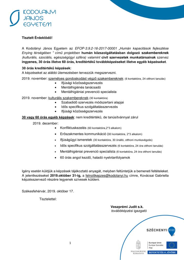 Plakát kreditértékű és egyéb képzésekről a Kodolányi János Egyetemtől.