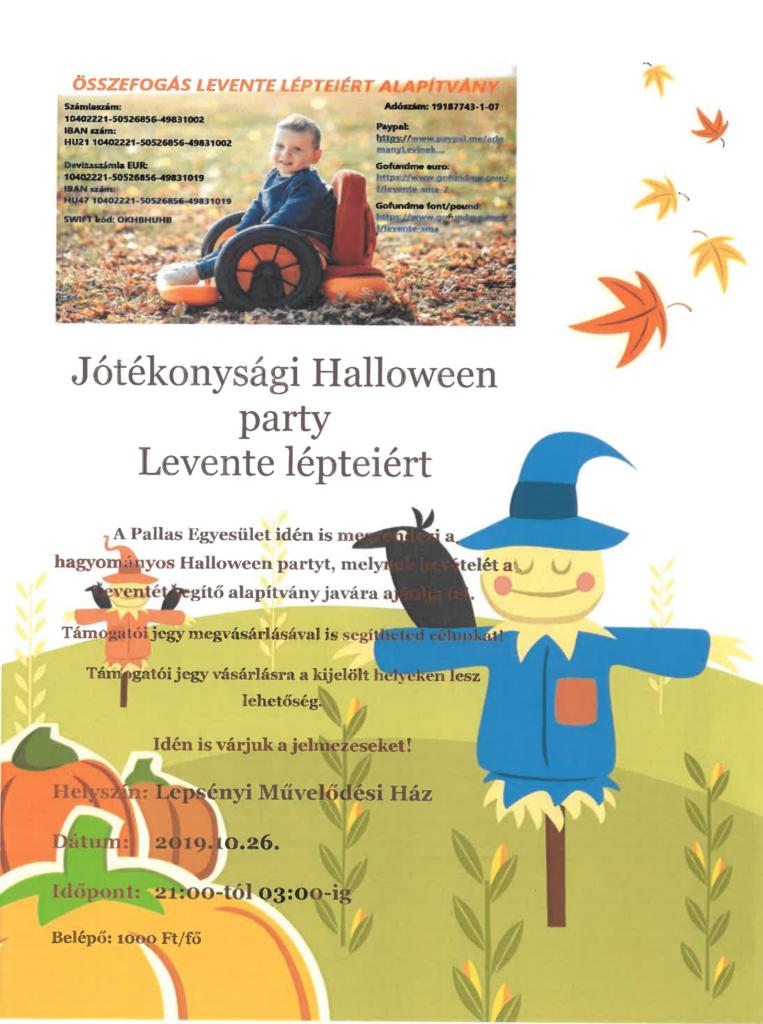 Plakát jótékonysági halloween party-ról.