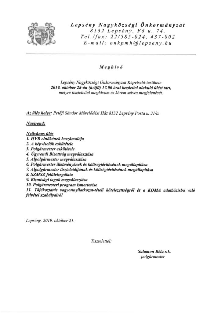 Meghívó Lepsény Nagyközségi Önkormányzat Képviselő-testületének 2019. október 18-i alakuló ülésére, mely 17 órakor kezdődik a művelődési házban.