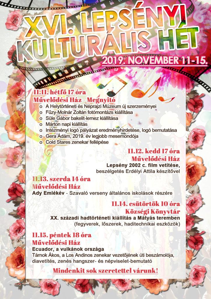 Plakát a 16. lepsényi kulturális hét programjairól.