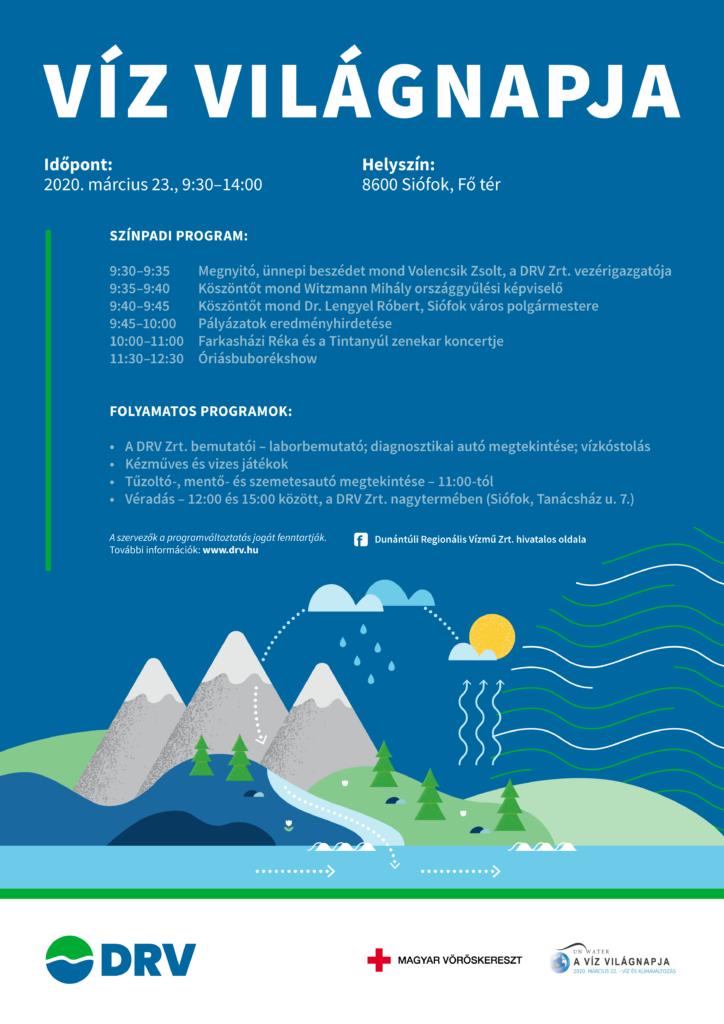 Plakát a Víz világnapja rendezvény programjairól.