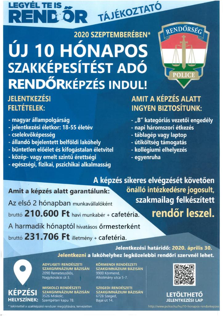 Plakát új 10 hónapos szakképesítést adó rendőrképzésról.
