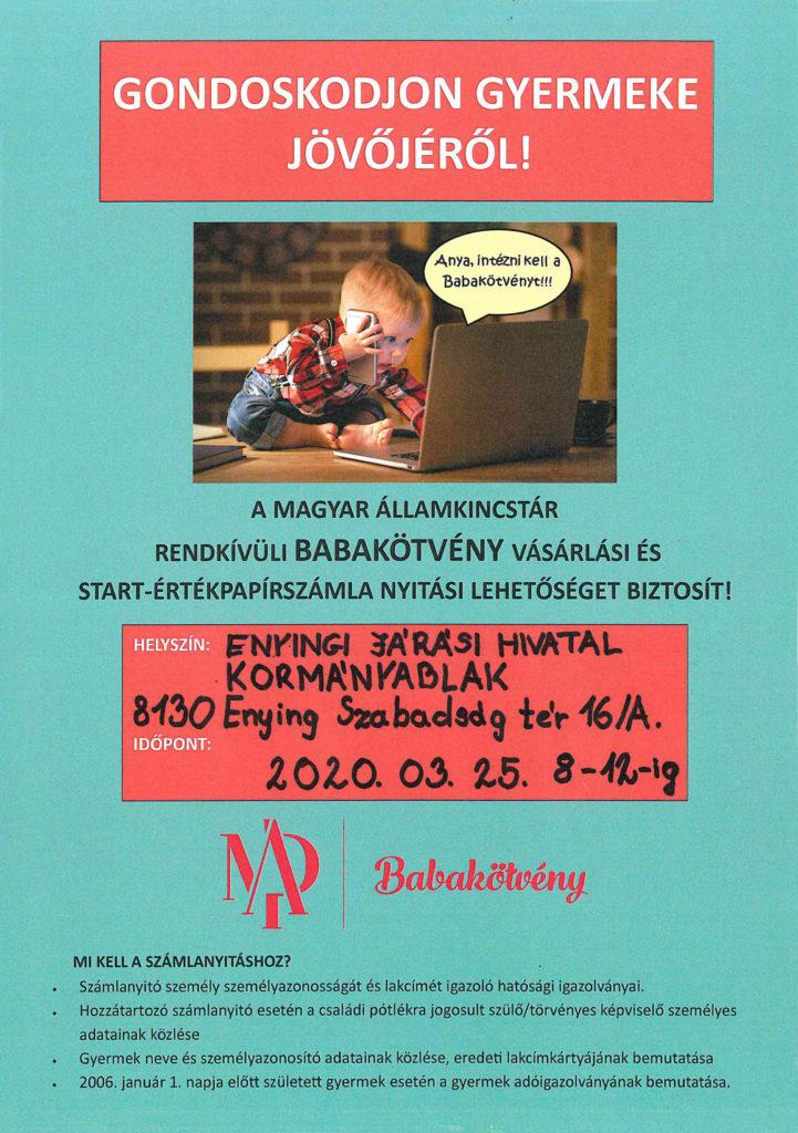 Információs plakát babakötvény kötéséről, mely az Enyingi Járási Hivatal Kormányablakában elérhető.
