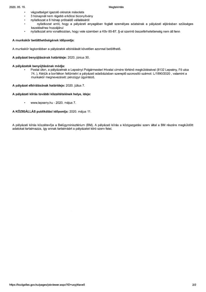 A pályázati kiírás kép formátumban (második oldal).