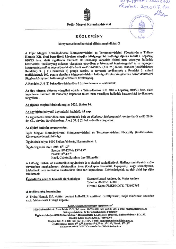 Az alábbi közlemény beszkennelve, pecséttel és aláírással ellátva (1. oldal)