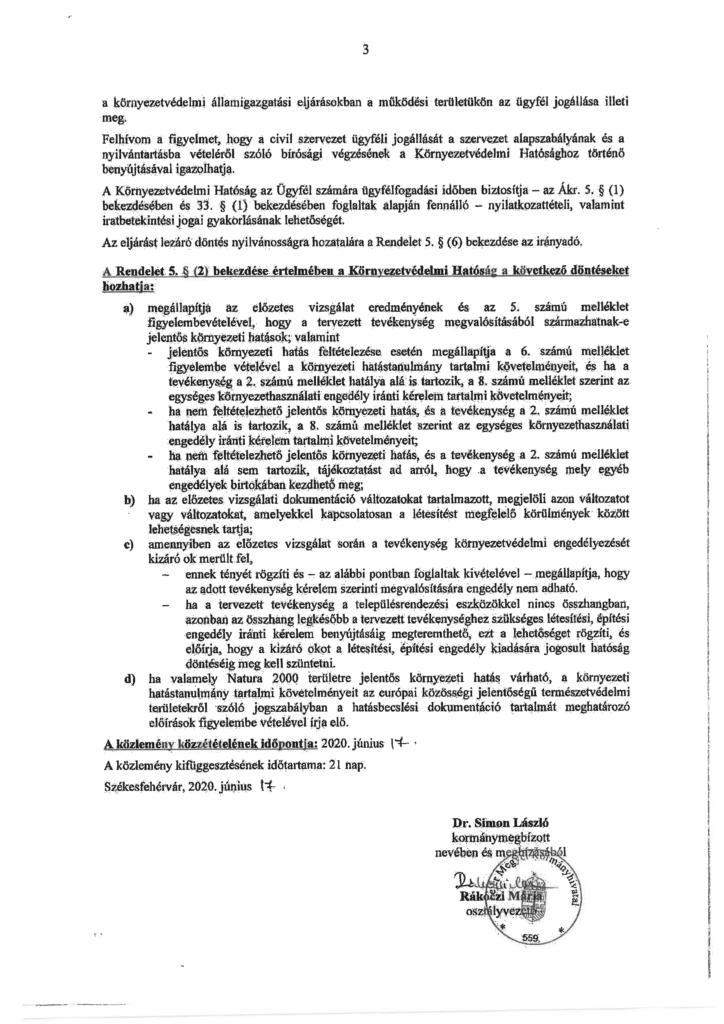 Az alábbi közlemény beszkennelve, pecséttel és aláírással ellátva (3. oldal)
