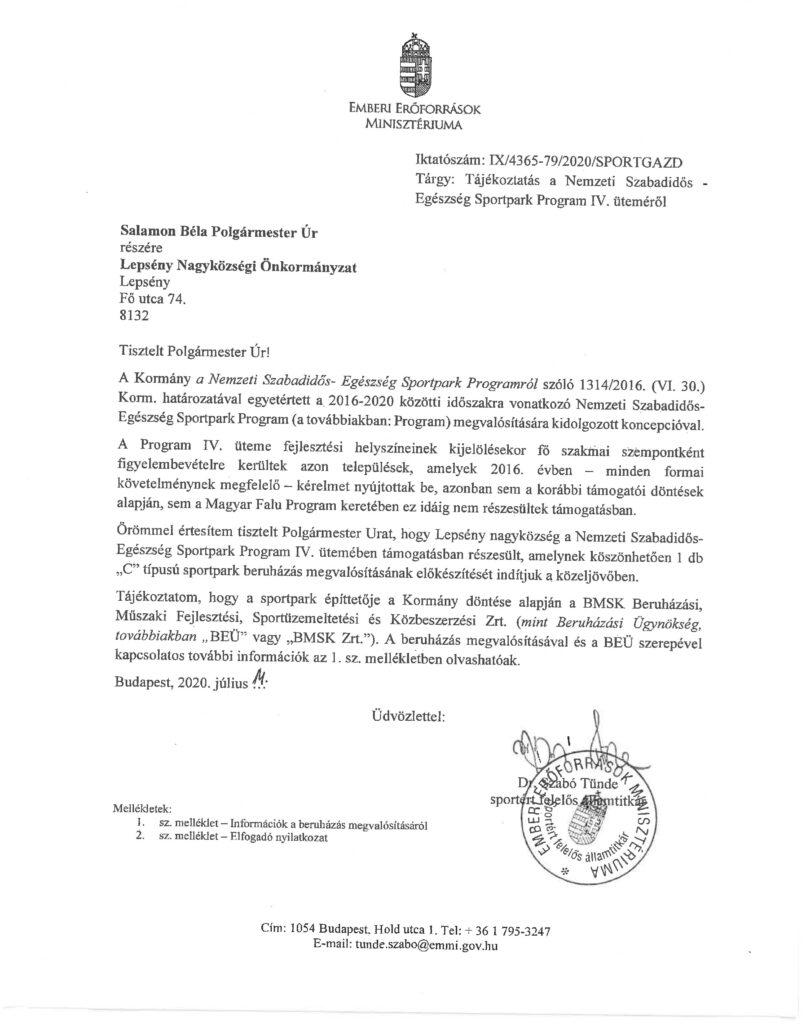 A fenti tájékoztató levél az Emberi Erőforrások Minisztériumától teljes verziója, beszkennelve, pecséttel és aláírással ellátva.