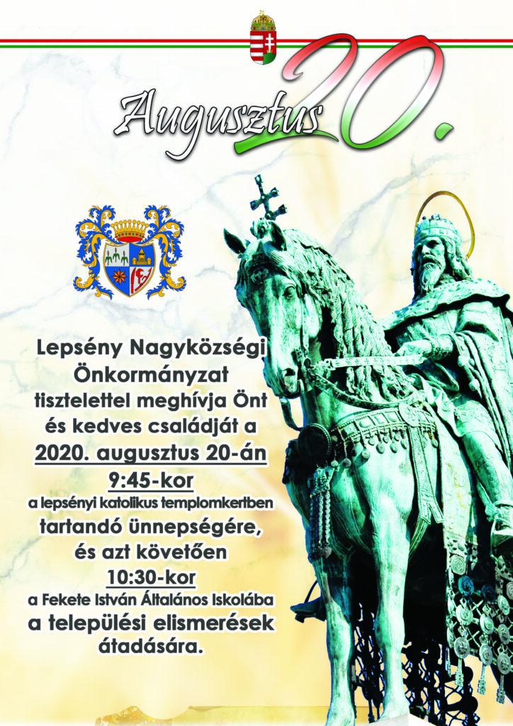 Plakát az augusztus 20-i ünnepségről, mely augusztus 20-án 9 óra 45 perckor lesz a katolikus templomkertben. Az azt követő települési elismerések átadása 10 óra 30 perckor lesz a Fekete István Általános Iskolában.