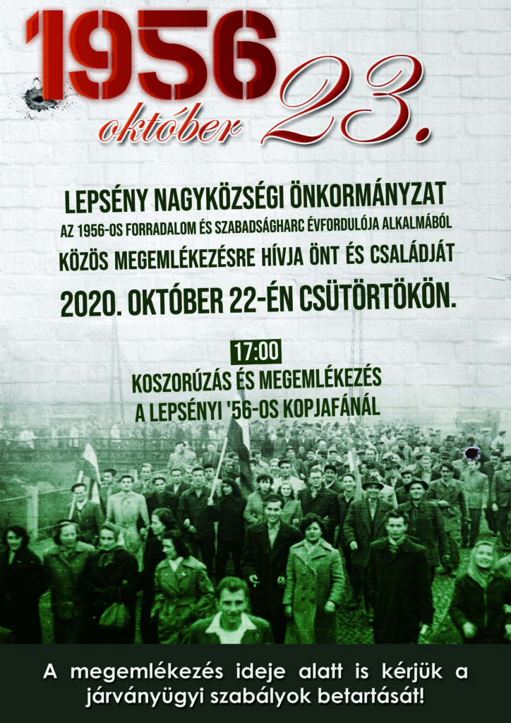 Plakát a lepsényi október 23-i megemlékezésről, mely 2020. október 22-én 17 órakor lesz a lepsényi 56-os kopjafánál