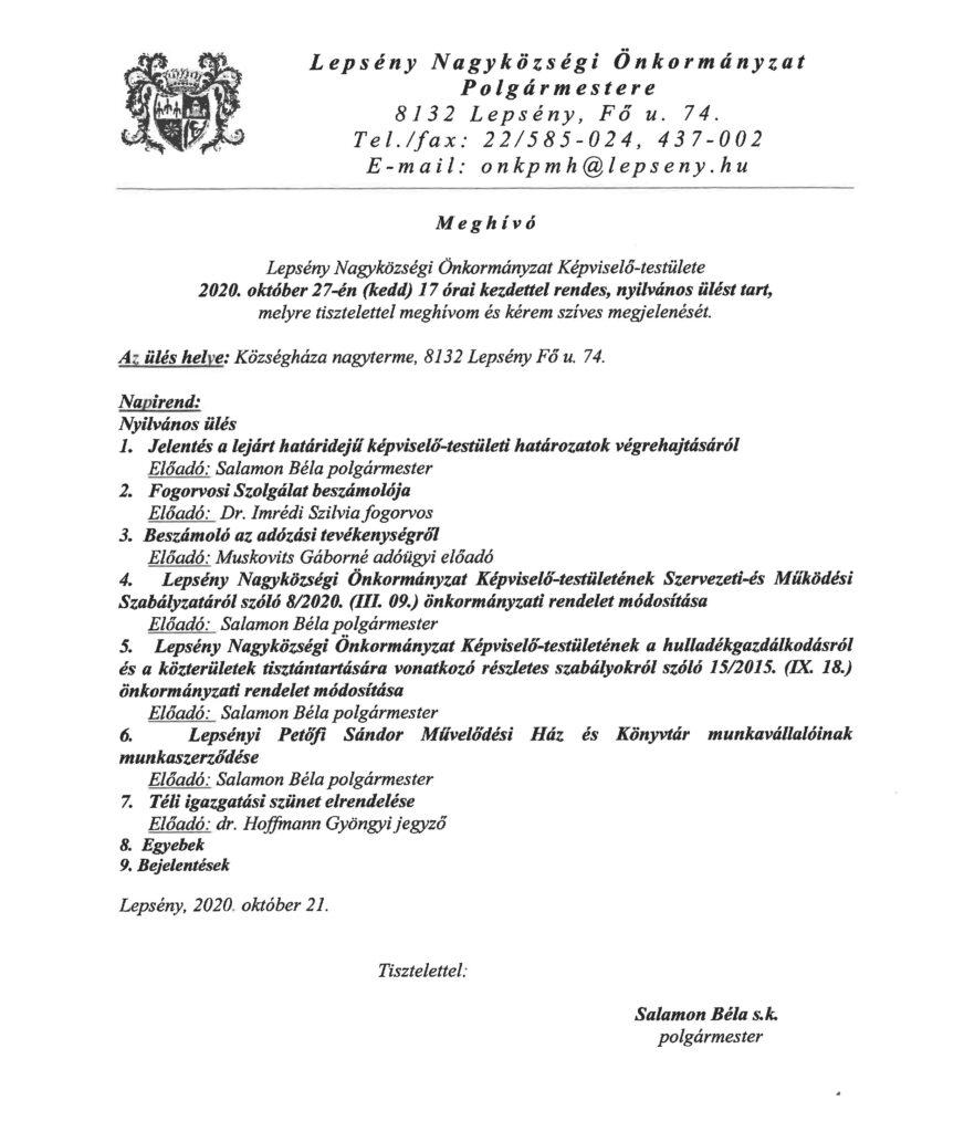 Meghívó Lepsény Nagyközségi Önkormányzat Képviselő-testületének 2020. október 27-i rendes, nyilvános üléséről, mely 17 órakor kezdődik a lepsényi községháza nagytermében.