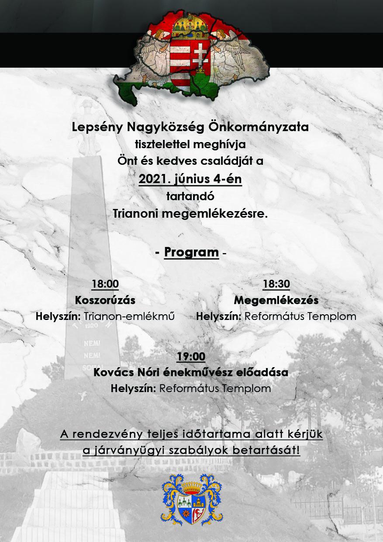 A trianoni megemlékezés plakátja. Alább részletezve.