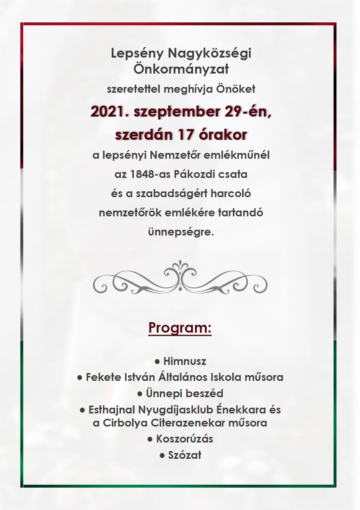 Meghívó nemzetőr megemlékezésre, 2021. szeptember 29-én 17 órakor a lepsényi nemzetőr emlékműhöz.